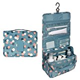 Oenbopo Colorful Travel Toiletry Bag Kit Cosmetic Makeup Storage Pouch Organizer Foldabe Hanging Bag with Large Capacity (Blue)