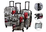 Lightweight 4 Wheel Hard Shell PC London Printed Luggage Suitcase Cabin Travel Bag (Small 20