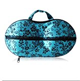 SONGQEE(TM) Protect Bra Lingerie Case Storage /Storage Box/ Travel Organizer Bag (26 Blue with Rose pattern)