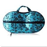 SONGQEE(TM) Protect Bra Lingerie Case Storage /Storage Box/ Travel Organizer Bag (26 Blue with Rose pattern)