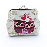 Omiky® Rectangle PU Leather Owl Printing White Wallet Card Holder Coin Purse Clutch Handbag (Owl Pattern 5)