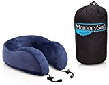 Luxury Travel Neck Pillow by MemorySoft - Extremely Soft and Comfy Memory Foam Neck Pillow - Includes a Handy Travel Bag