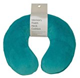 Aidapt Teal Super Soft Velour Luxury Firm Memory Foam Neck Support Cushion (Travelling,TV,Reading)