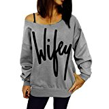 Women's Wifey Shirt Letter Print Off Shoulder Slouchy Shirt Grey S