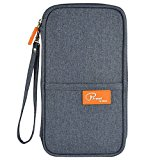 Passport wallet cover / Travel clutch bag / Card cash organizer / Holder with hand strap (Gray)