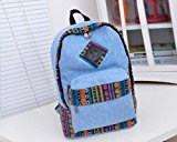 Vintage Casual Style Bohemian Lightweight Canvas Travel Gym College School Backpack Rucksack Bookbag Laptop Shoulders Bag Pack Daypack Gift for Men Women Students - Blue
