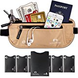 Alpine Rivers Money Belt - RFID Blocking Premium Quality + 7 Bonus RFID Sleeves in GIFT BOX