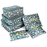 HOMPO 6pcs Nylon Travel Cosmetics Packing Organisers Bags Set Packing Cube Bag in Bag Storage Luggage set Blue Flower