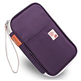 KINGLAKE® Passport Wallets Organizer Durable Waterproof Travel Wallet Purse with Hand Strap Zip Closure Document Organizer Passport Ticket Credit ID card Cash Holder Case (Model 1 Purple)