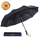 Langforth Travel Umbrella 10-Rid Tested 55Mph Wind Resistant Compact Auto Open/Close