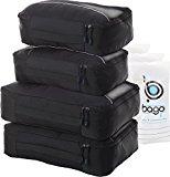 Packing Cubes 4pcs Value Set for Travel - Plus 6pcs Luggage Organiser Zip Bags (Black)
