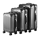 VonHaus 3 Pc Titanium Premium Extra Strong ABS Luggage Set + TSA Lock + YKK Zip + 4 Double Wheels