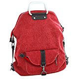 3 Way Use Canvas Backpack, WITERY Men Women Casual Vintage Exquisite K2 Canvas Tote Bag Handbag Shoulder Bag Top-Handle Bags School Bags Backpack Red