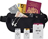 TravelBug: RFID Money Belt, Wallet, Pouch, Bumbag, Fanny Pack - With Built In RFID Protection Providing Safe Travel and Security Against Identity Theft. Includes 3 BONUS RFID Sleeves.
