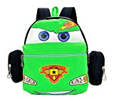 Createbag Kids Backpack Children Knapsack Nursery Girls Boys Travel Bag Cartoon Car Green