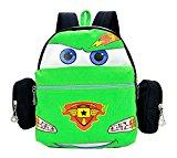 Createbag Kids Backpack Children Knapsack Nursery Girls Boys Travel Bag Cartoon Car Green