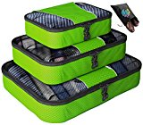 Packing Cubes - Father's Day Gift - 4 pc Value Set Luggage Organizer - Bonus Shoe Bag Included - Lifetime Guarantee - By Bingonia - Green