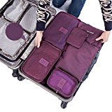 SZTARA Travel Organisers Essential Bags-in-Bag Travel Storage Waterproof Nylon Drawstring Dry Bag Clothes Suitcase Luggage Storage Bags Set of 6 BIG SPACE Purple
