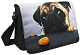WATERFLY Cute Dog Soft Lightweight Nylon 15.6 Inch Padded Compartment Laptop Shoulder Messenger Bag Case Cover Handbag Crossbody Hybrid Hobo Bag Traveling Tote For 12