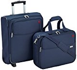 American Tourister Hand Luggage Atlanta Cabin Fit Upright with Laptop Overnight Bag, Set of 2, 50 cm/ 35 Liters, Navy Blue 55936/1598