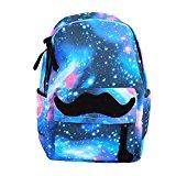 Unisex Girl Boys Retro Travel Backpack Canvas Leisure Bags School bag Rucksack (Moustache blue)