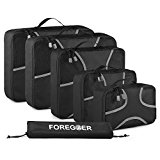 FOREGOER 5 Set Packing Cubes Travel Luggage Organizers with Laundry Bag - Black