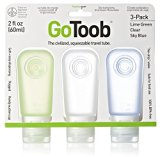 humangear GoToob 3 Pack Large Liquid Travel Bottles - Clear/Green/Blue, 60 ml