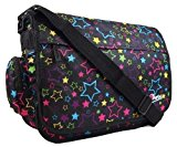 New Girls Womens Chervi Pretty Love Stars School College Laptop Messenger Bag (Black/Pink/Red) (Black)