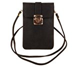KISS GOLD Luxury Matte PU Leather Mini Crossbody Single Shoulder Bag Cellphone Pouch (Model A-Black)