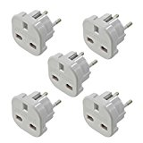 INIBUD Universal UK to EU Euro European Travel Adapter White Plug 2 Pin, Pack of 5