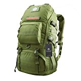 YAAGLE Mens Womens Military Combat Tactical 50L Waterproof 900D Oxford Outdoor Backpack Sports Biking Hiking Cycling Climbing Camping Rucksack Travel Bag Black Army Green Yellow Camouflage