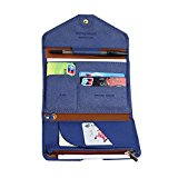 Mulit-purpose RFID Blocking Waterproof PU Leather Passport Holder Wallet Trifold Travel Document Organizer Envelope Cash Cards Keys Case Clutch Pocket Navy Blue