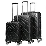 Aerolite PCF Hard Shell Polycarbonate 8 Wheel Spinner Luggage Suitcase Travel Trolley Cases With TSA Approved 3 Digit Combination Lock (Black, 21