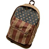 TopTie Canvas Casual National Flag Style Backpack, American / Union Flag Prints - USA