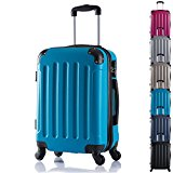 WOLTU RK4201ts Hard Shell Lightweight Travel Trolley Bag Hand Luggage Suitcase Turquoise with 2 Carrying Handles and Four 360 Degree Rotatable Silent Wheels in 3 Sizes and 6 Colours