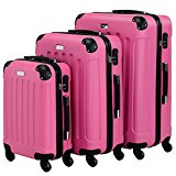 VonHaus 3pc Hard Shell ABS Trolley Suitcase Luggage Set with 4 Rotating Wheels, Combination Lock & Telescopic Handle - Pink