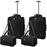 Set of 4 - 2x Ryanair Cabin Approved 55x40x20cm & 2x Second 35x20x20 Hand Luggage Set - Carry On Both items! (Black/Black)