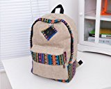 Vintage Casual Style Bohemian Lightweight Canvas Travel Gym College School Backpack Rucksack Bookbag Laptop Shoulders Bag Pack Daypack Gift for Men Women Students - Khaki