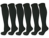 6 Pairs Knee High Graduated Compression Socks For Women and Men - Best Medical, Nursing, Maternity Pregnancy and Travel Socks - 15-20mmHg (L/XL, Black)
