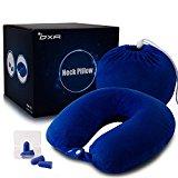 OXA Memory Foam Neck Pillow With 2 Pair of Earplugs, Double Buckcle, Blue