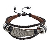 Angel Wing Braided Leather Bracelet - Surfer Leather Bracelet - Elegant Bracelet With Stainless Steel and Leather Combination - Leather Wristband For Mens And Womens Unisex - By Beyond Dreams