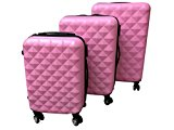 HARD SHELL 4 WHEEL SPIN SUITCASE ABS LUGGAGE CASE CABIN - SQUARE DESIGN PINK SET OF 3 - UPS NEXT WORKING DAY DELIVERY