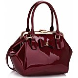 Patent Shoudler Bag With Bow Detailing Various Colours (Burgandy)