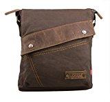 Zenness New Fashion Canvas Shoulder Messenger Bag Casual Satchel Bag Crossbody Travel Bag (Coffee)