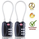 TSA Approved Luggage Locks 3 Digit Combination Heavy Duty Travel Baggage Lock Padlock and Suitcase Lock (Black 2 Pack)
