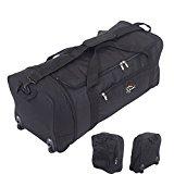 32 Inch Large Folding Wheeled Travel Sports Cargo Holdall Duffle Bag (Black)