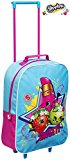 Kids Trolley Cabin Bag Suitcase with Wheels and Telescopic Handle - Ideal for short breaks, holidays, sleepovers and school trips (Shopkins)