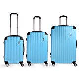 Sunydeal ABS Hard Shell Luggage Trolley Bag Case Super Lightweight 4 Wheel Spinning Suitcase Sets Cabin of 3 ( 20