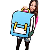 jeansian 3D Jump Style 2D Drawing From Cartoon Paper Comic Animation Backpack Bag WBH001 Blue