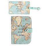 Set of 2-Vintage World Map Passport Holder & Luggage Tag- Perfect Travel Accessories for men, women & teenagers